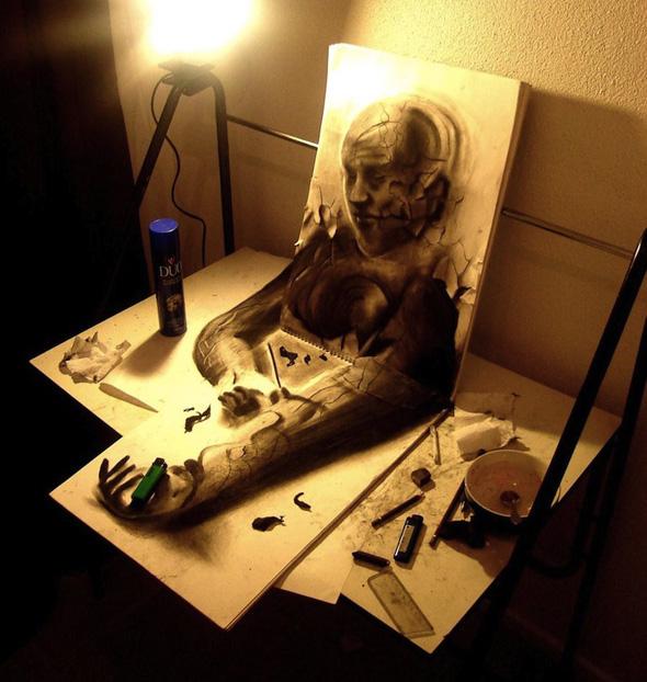 17 metų menininkas piešia įspūdingus 3D piešinius