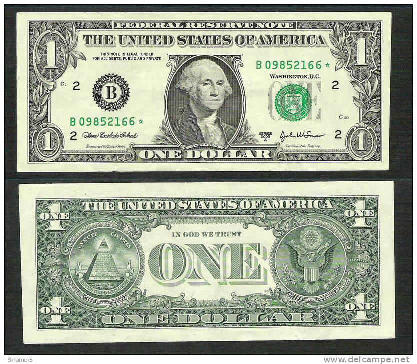 1 dolerio banknotas