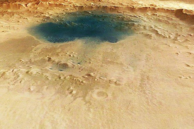 Marso paviršiuje – ežerus primenančios melsvos dėmės